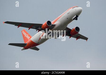 02 July 2020, Brandenburg, Schönefeld: An Airbus A320-200 of the airline easyJet Europe will take off from the airport runway for its flight to Corfu. Photo: Soeren Stache/dpa-Zentralbild/ZB - Stock Photo