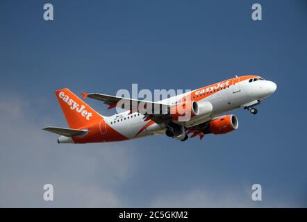 02 July 2020, Brandenburg, Schönefeld: An Airbus A320-200 Sharklets of the airline easyJet Europe will take off from the airport runway for its flight to Pristina. Photo: Soeren Stache/dpa-Zentralbild/ZB - Stock Photo