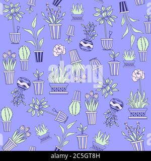 Template. Seamless pattern of scattered indoor plants in pots on a blue background. Flowers, tulips, cacti, rose and seedlings in geometric vases. The - Stock Photo