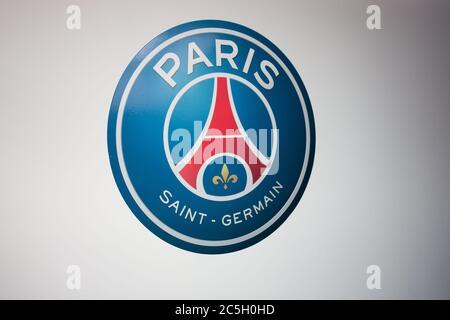Paris , seine / France - 06 20 2020 : psg logo sign on wall of Paris Saint Germain football club - Stock Photo