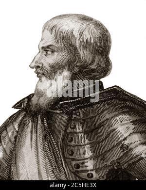 Portrait of Jean II Le Maingre (Le Meingre) (1366-1421), called Boucicaut, marshal of France - Stock Photo