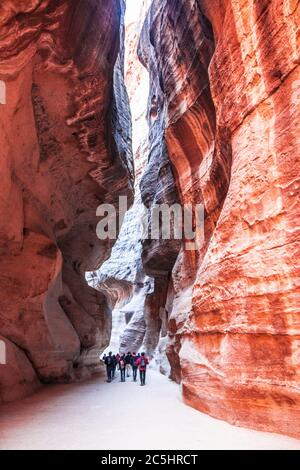 The canyon known as Al Siq at the entrance to the Pink City of Petra in Jordan. - Stock Photo