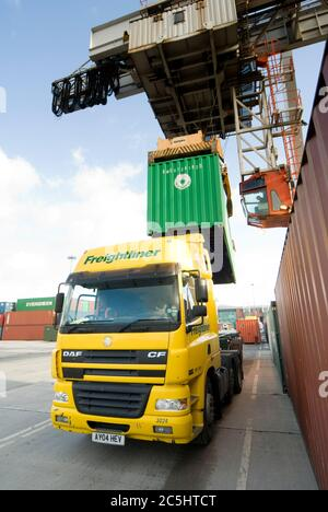 Rail mounted crane being used to load and unload shipping containers on HGV lorries at Manchester Euroterminal, Trafford Park, Manchester, England.