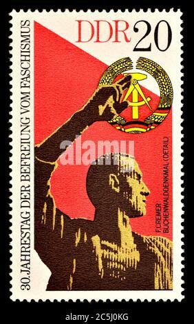 East German postage stamp (1975) : 30th Anniversary of Freedom from Fascism. Buchenwld Memorial