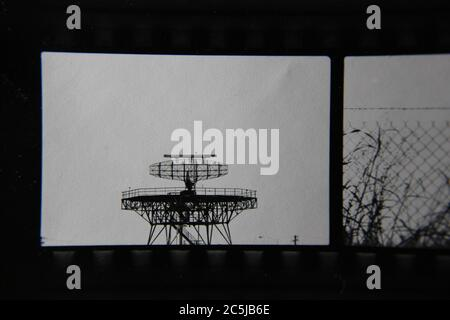 Fine 70s vintage contact print black and white photography of an airport radar plane tracker.