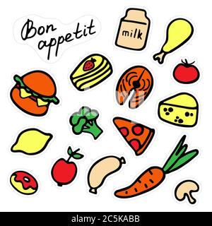 Set of stickers of delicious food. Variety of dishes. Hand-drawn icons. Inscription Bon appetit. - Stock Photo