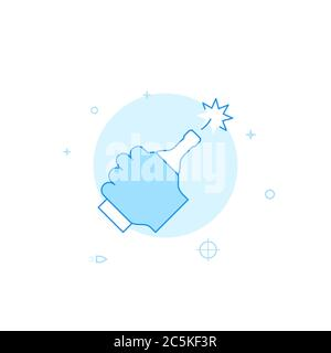 Molotov cocktail vector icon. Flat illustration. Filled line style. Blue monochrome design. Editable stroke. Adjust line weight. - Stock Photo