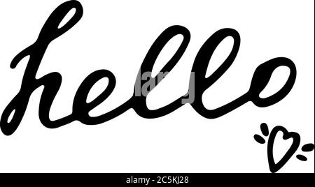 Hand written hello word. Hand drawn lettering. - Stock Photo