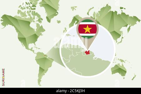 Infographic for Suriname, detailed map of Suriname with flag. Vector Info graphic green map. - Stock Photo