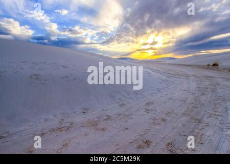 White Sands Sunset. Beautiful desert sunset at the White Sands National Monument in Alamogordo, New Mexico. Stock Photo