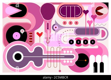 Abstract music background. Flat design of different musical instruments, vector illustration. Acoustic guitar, saxophone, piano keys, trumpets, microp
