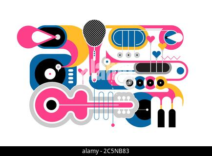 Red, yellow and blue colors flat design isolated on a white background Musical Instruments vector illustration. Art composition of guitar, saxophone,