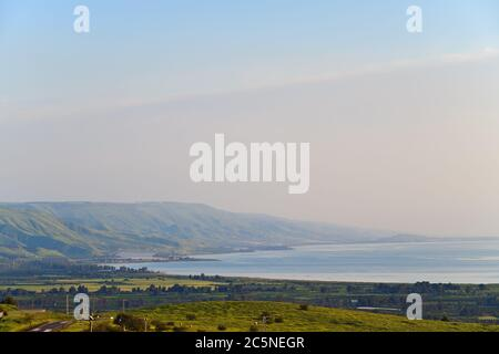 Beautiful Kinneret lake landscape in the Galilee at sunset, Northern Israel. - Stock Photo