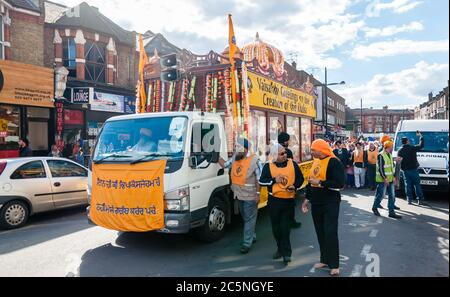 Performers take part in the festival of Vaisakhi, celebrating the birth of Sikhs - Stock Photo