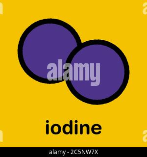 Iodine (I2) molecule. Solutions of elemental iodine are used as disinfectants. Stylized skeletal formula (chemical structure): Atoms are shown as color-coded circles: iodine (purple). - Stock Photo