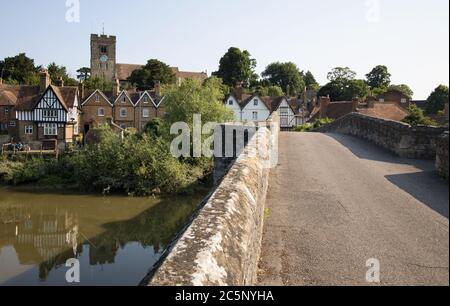 view across the river medway to aylesford village kent Stock Photo