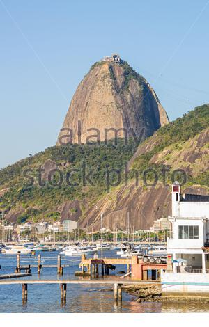 Sugar Loaf Hill, seen from Botafogo Cove in Rio de Janeiro in Brazil - Stock Photo