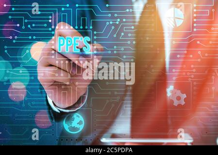 Word writing text Ppe s is. Business photo showcasing Specialized equipment for protection against health and safety hazard System administrator contr - Stock Photo