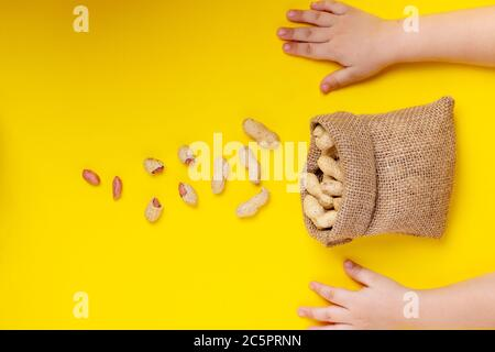 Peanuts in the shells. Healthy food concept. Copy space, horizontal - Stock Photo