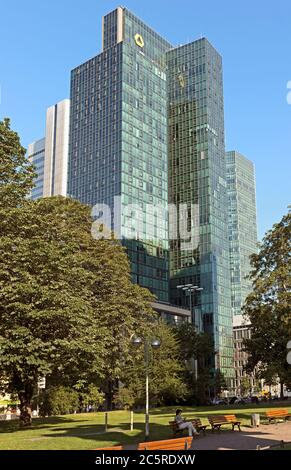 FRANKFURT AM MAIN, GERMANY - JULY 2, 2015: The Europaeische Zentral Bank (European Central Bank) is the central bank for the Euro zone.  Frankfurt am - Stock Photo