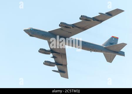 Boston, Massachusetts. 4th July, 2020. B-52 Fortress at the DOD Salute to America 2020 flyover. - Stock Photo