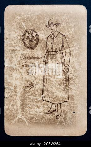 WAAC - Womens Army Auxiliary Corps - christmas post card from 1917 -UK - Stock Photo