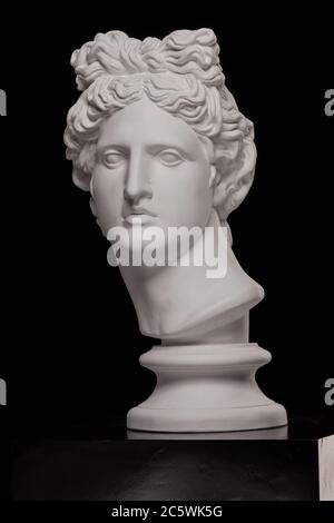 White plaster statue of a bust of Apollo Belvedere on a black background - Stock Photo