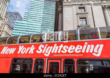Lower Manhattan New York City NYC NY Financial District FiDi building double-decker bus guided tour passenger urban - Stock Photo
