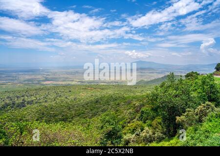 View over the Great Rift Valley from the Kamandura-Mai Mahiu-Narok Rd (B3), Kenya, East Africa - Stock Photo