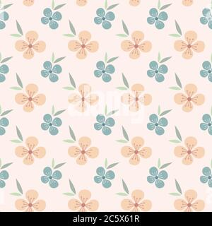 Floral seamless pattern design. Pink and blue flowers vintage pattern for wallpapers, print and fabric. - Stock Photo