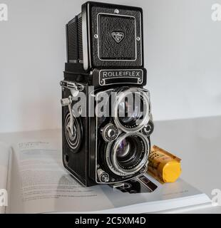 Rolleiflex 2.8E2 twin-lens reflex camera - Stock Photo