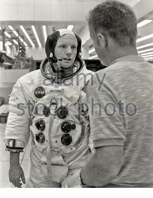 Retro photo of Neil Alden Armstrong (1930 – 2012), an American astronaut and aeronautical engineer and the first person to walk on the Moon. He was al - Stock Photo