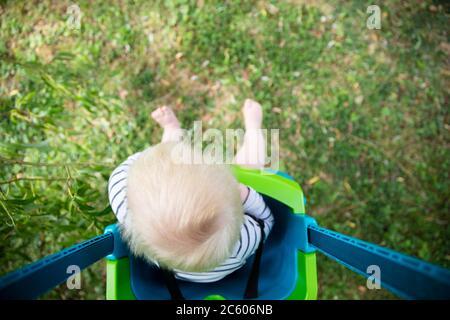 A little boy having fun playing on a swing under a tree in a garden