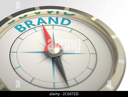 Compass and an arrow pointing to the word brand. - Stock Photo