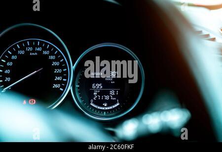 Closeup car fuel gauge dashboard panel. Gasoline indicator meter and speedometer. Fuel gauge show full gas tank. Data information dashboard show