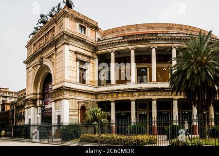 Politeama-Garibaldi Theater (Teatro Politeama-Garibaldi), Piazza Ruggero Settimo, Palermo, Sicily, Italy, Europe. - Stock Photo