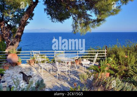 Picnic table and chairs under pine trees in courtyard on coast of Aegean sea at sunset time, White sailing yacht on background.  Warm evening light. A - Stock Photo