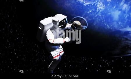 Astronaut and human skull in outer space in glass sphere. Apocalypse concept. 3d rendering - Stock Photo