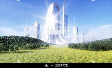 futuristic city. Future concept. Aerial view. 3d rendering.