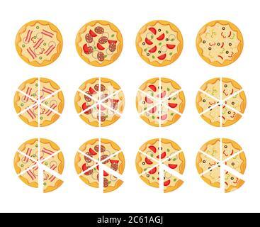 set of flat pizza icons isolated on white - Stock Photo