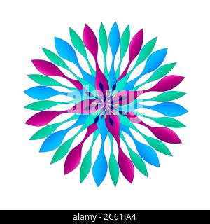 Beautiful graphic Spinner-like design Motifs in a unique colorful scheme of colors including purple, aqua teal and blues.  Some with borders. - Stock Photo