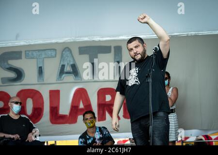 Italian rapper Kento, at 'Stati Popolari', event organized in Piazza San Giovanni, in Rome, Italy, by Aboubakar Soumahoro, Italian-Ivorian trade unionist of the Agricultural Coordination of the Union of Base Union (USB) - Stock Photo