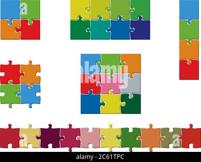 set of colorful jigsaw puzzle pieces template vector illustration - Stock Photo