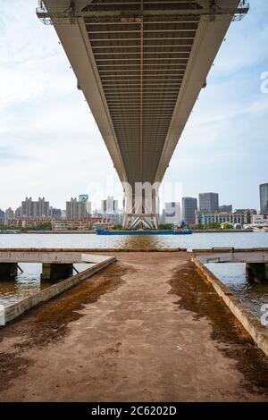 A deserted pier along the Huangpu river, in Shanghai, China. - Stock Photo