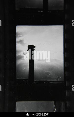 Fine 70s vintage contact print black and white photography of the O'Hare airport control tower.