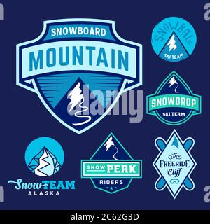 Set of Ski Snowboard Snow Mountains Sport Logos or Vintage Labels, Colorful on Blue Background - Stock Photo