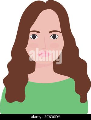 cartoon woman with long hair over white background, flat style, vector illustration - Stock Photo