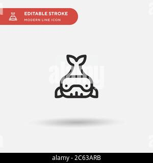 Whale Simple vector icon. Illustration symbol design template for web mobile UI element. Perfect color modern pictogram on editable stroke. Whale icons for your business project