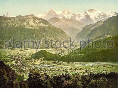 View of Beatenberg from Amisbuhl, Interlaken, Bern, Switzerland  1890 - Stock Photo