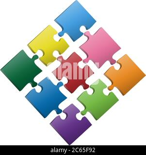 colorful jigsaw puzzle pieces 3 x 3 template vector illustration - Stock Photo